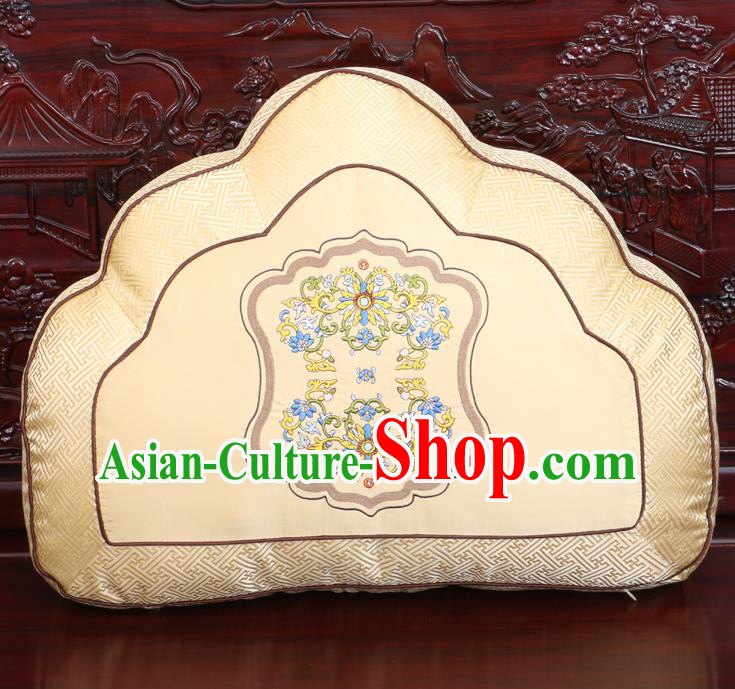 Chinese Traditional Embroidered Lotus Pattern Golden Brocade Back Cushion Cover Classical Household Ornament