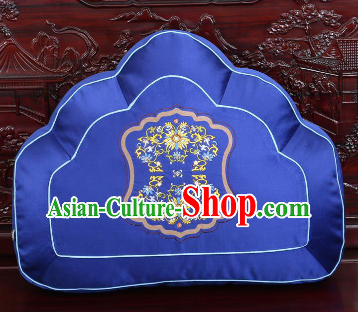 Chinese Traditional Embroidered Lotus Pattern Royalblue Brocade Back Cushion Cover Classical Household Ornament