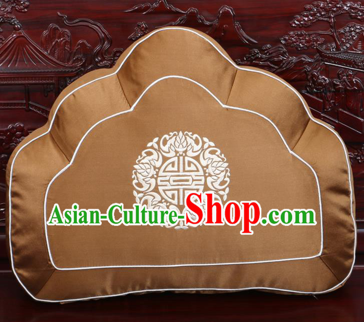 Chinese Traditional Embroidered Lotus Pattern Bronze Brocade Back Cushion Cover Classical Household Ornament