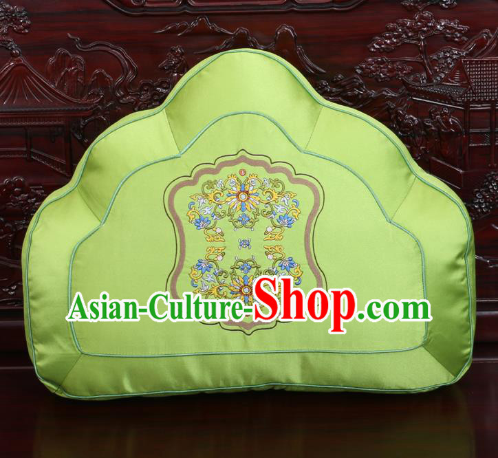 Chinese Traditional Embroidered Lotus Pattern Green Brocade Back Cushion Cover Classical Household Ornament