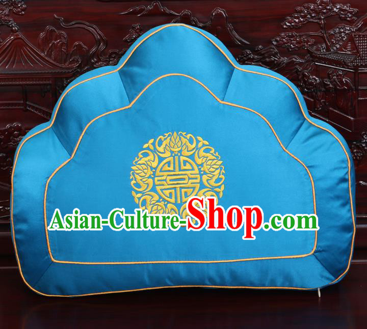Chinese Traditional Embroidered Pattern Blue Brocade Back Cushion Cover Classical Household Ornament