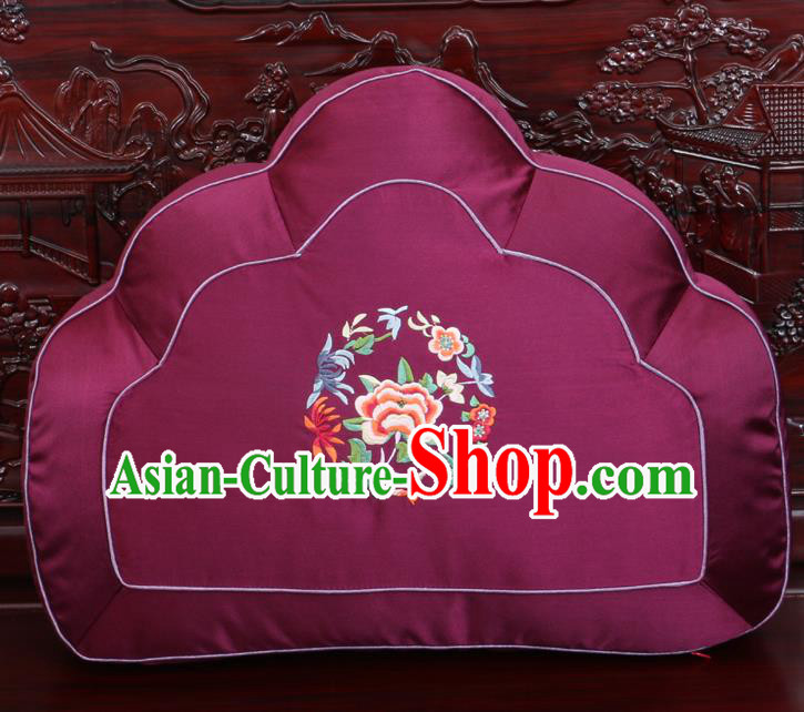 Chinese Traditional Embroidered Peony Pattern Purple Brocade Back Cushion Cover Classical Household Ornament