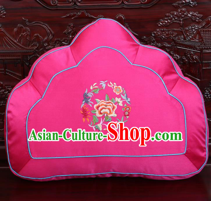 Chinese Traditional Embroidered Peony Pattern Rosy Brocade Back Cushion Cover Classical Household Ornament