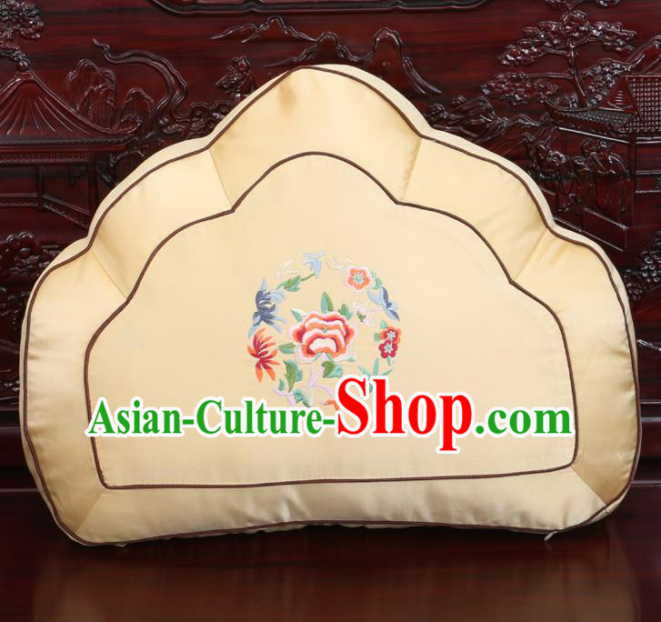 Chinese Traditional Embroidered Peony Pattern Yellow Brocade Back Cushion Cover Classical Household Ornament