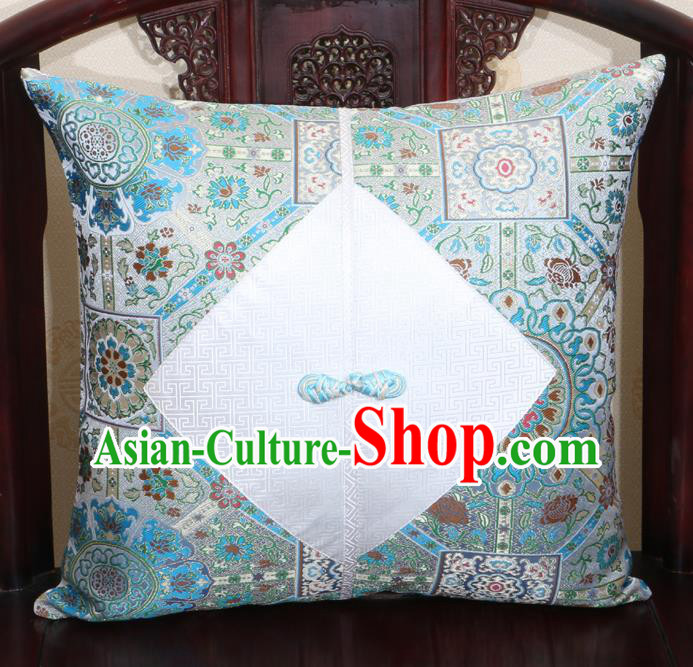 Chinese Classical Pattern Blue Brocade Pipa Button Back Cushion Cover Traditional Household Ornament