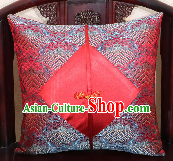 Chinese Classical Wave Pattern Red Brocade Pipa Button Back Cushion Cover Traditional Household Ornament
