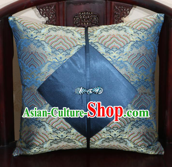 Chinese Classical Wave Pattern Navy Brocade Pipa Button Back Cushion Cover Traditional Household Ornament