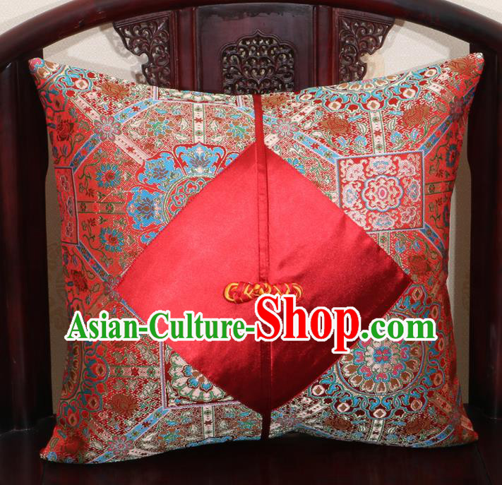 Chinese Classical Pattern Red Brocade Pipa Button Back Cushion Cover Traditional Household Ornament