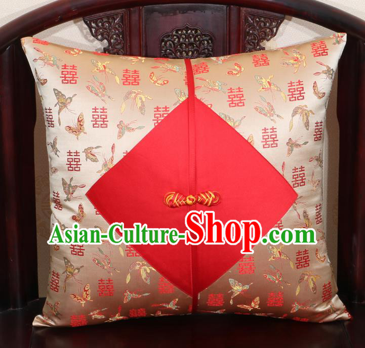 Chinese Classical Butterfly Pattern Golden Brocade Pipa Button Back Cushion Cover Traditional Household Ornament