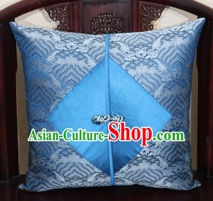 Chinese Classical Wave Pattern Blue Brocade Pipa Button Back Cushion Cover Traditional Household Ornament
