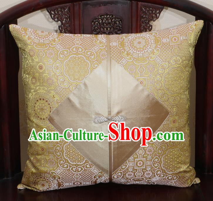 Chinese Classical Pattern Light Golden Brocade Pipa Button Back Cushion Cover Traditional Household Ornament