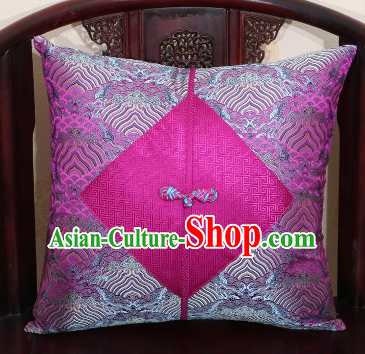 Chinese Classical Wave Pattern Rosy Brocade Pipa Button Back Cushion Cover Traditional Household Ornament