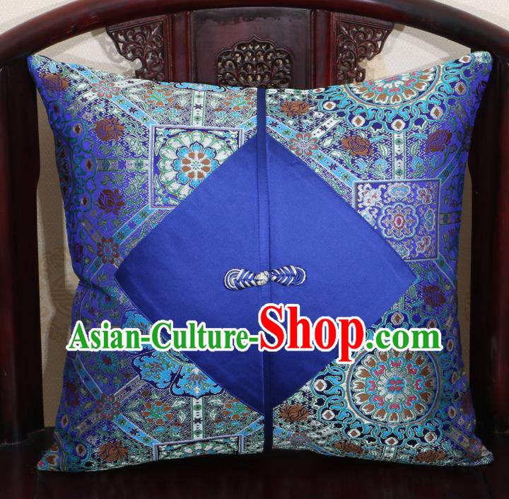 Chinese Classical Pattern Royalblue Brocade Pipa Button Back Cushion Cover Traditional Household Ornament