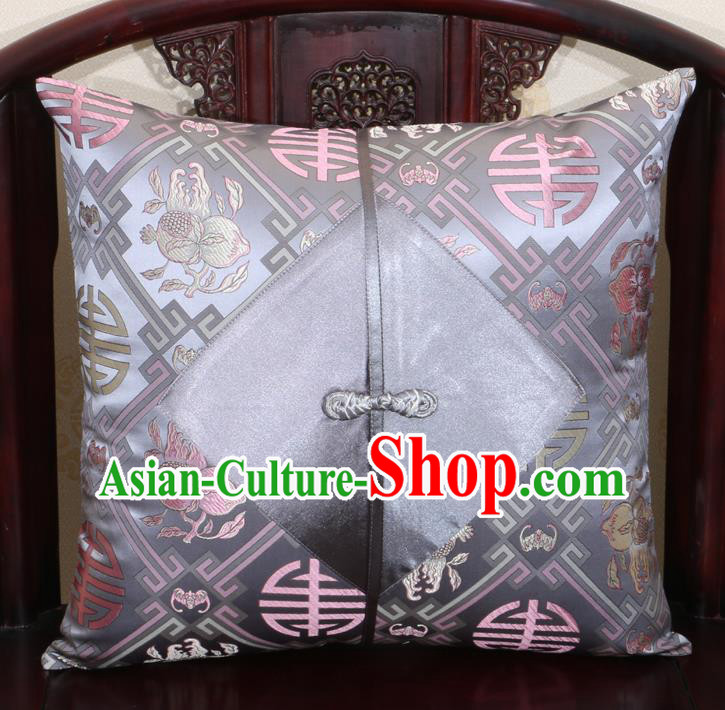 Chinese Classical Pomegranate Pattern Grey Brocade Pipa Button Back Cushion Cover Traditional Household Ornament