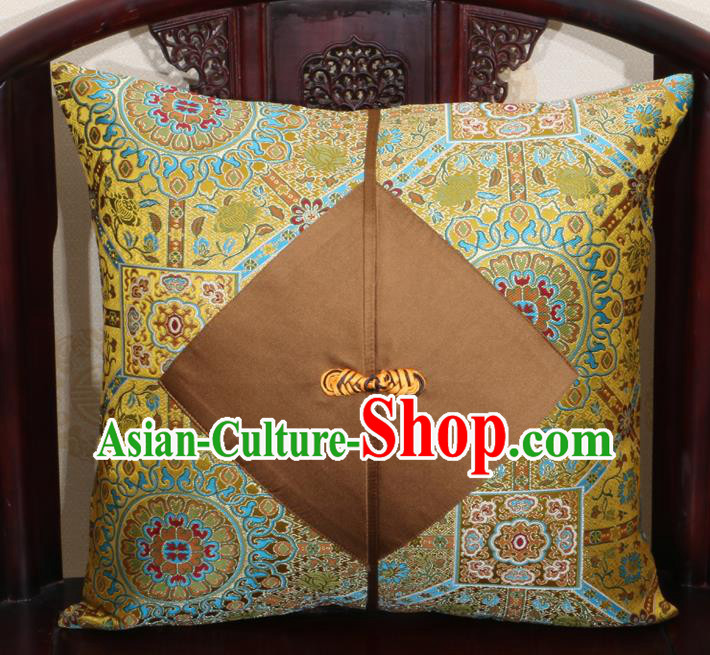Chinese Classical Pattern Golden Brocade Pipa Button Back Cushion Cover Traditional Household Ornament