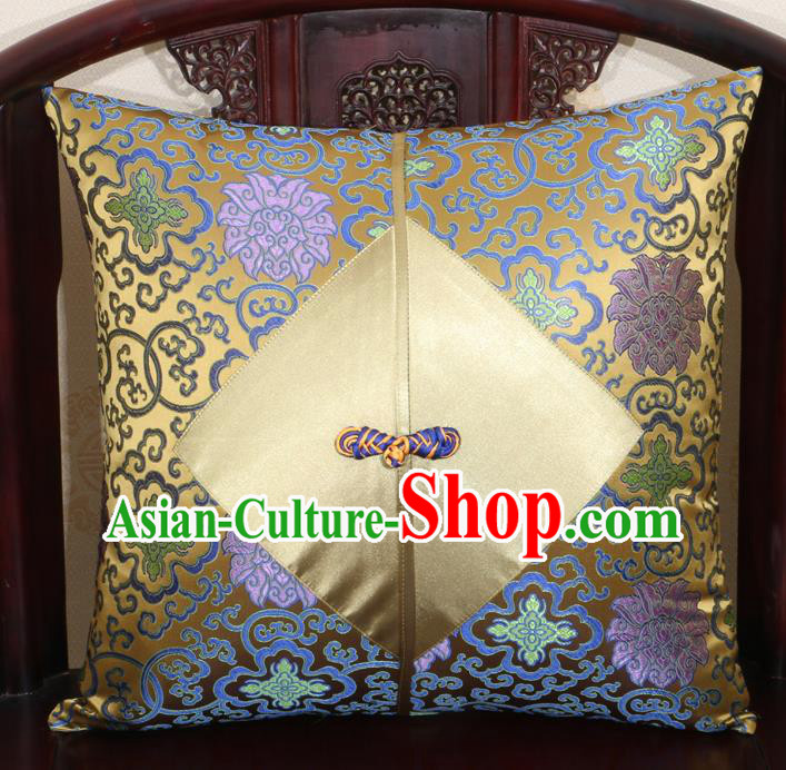 Chinese Classical Lotus Pattern Golden Brocade Pipa Button Back Cushion Cover Traditional Household Ornament