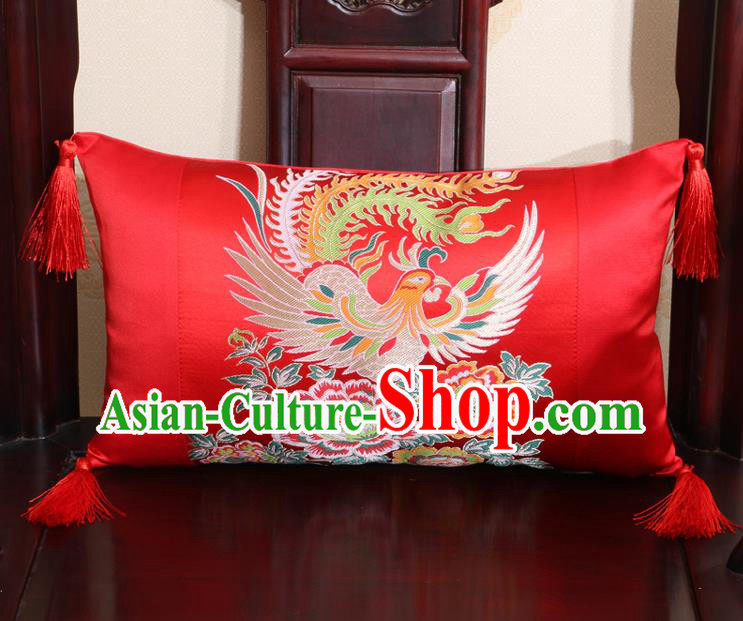 Chinese Traditional Phoenix Peony Pattern Red Brocade Back Cushion Cover Classical Household Ornament