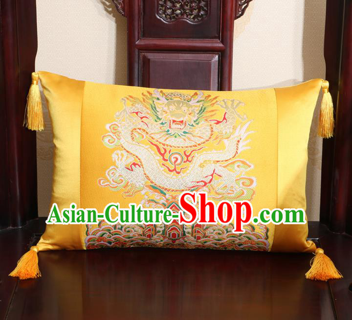 Chinese Traditional Dragon Pattern Golden Brocade Back Cushion Cover Classical Household Ornament