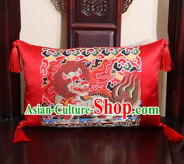 Chinese Traditional Kylin Pattern Red Brocade Back Cushion Cover Classical Household Ornament
