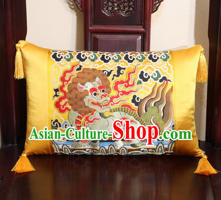 Chinese Traditional Kylin Pattern Golden Brocade Back Cushion Cover Classical Household Ornament