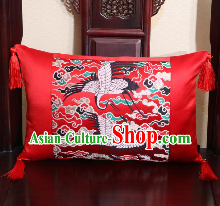 Chinese Traditional Cranes Pattern Red Brocade Back Cushion Cover Classical Household Ornament