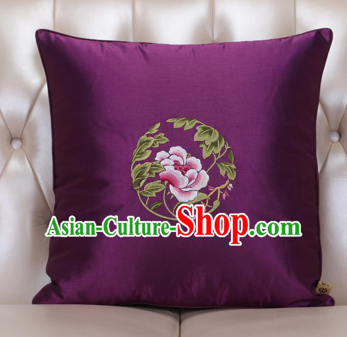 Chinese Traditional Embroidered Peony Purple Brocade Back Cushion Cover Classical Household Ornament