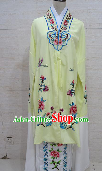 Chinese Traditional Beijing Opera Embroidered Peony Light Yellow Dress Peking Opera Diva Costume for Adults