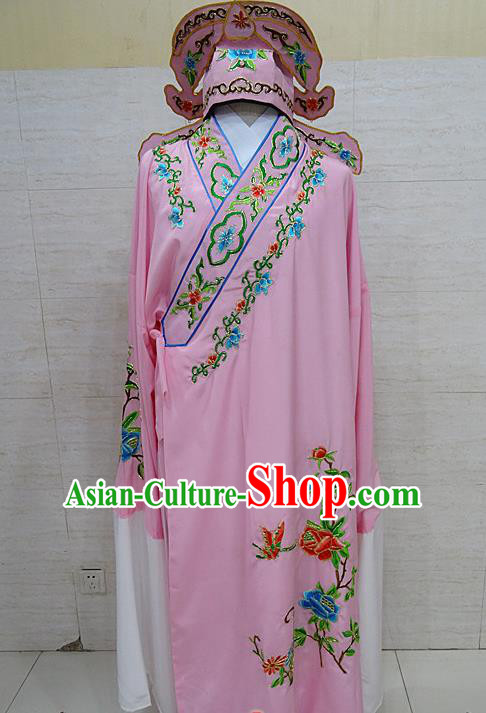 Professional Chinese Beijing Opera Niche Embroidered Peony Pink Robe Traditional Peking Opera Scholar Costume for Adults