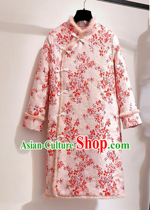 Chinese Traditional Tang Suit Costume Pink Cotton Wadded Qipao Dress Cheongsam for Women