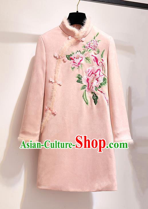 Chinese Traditional Tang Suit Costume Embroidered Peony Pink Cotton Wadded Qipao Dress Cheongsam for Women