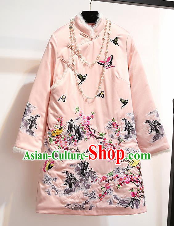 Chinese Traditional Costume Tang Suit Qipao Dress Embroidered Plum Blossom Pink Cheongsam for Women