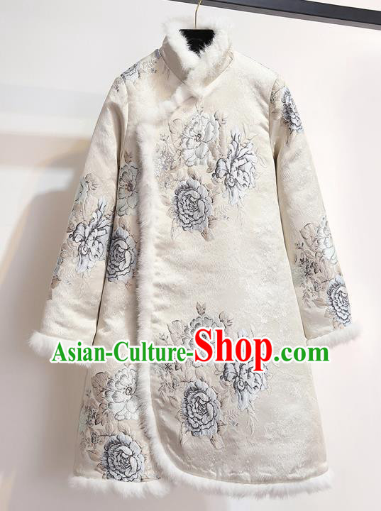 Chinese Traditional Costume Tang Suit Qipao Dress Embroidered Peony White Cheongsam for Women