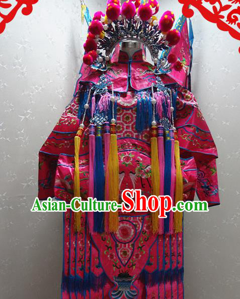 Chinese Traditional Beijing Opera Female General Rosy Embroidered Clothing Peking Opera Mu Guiying Costume for Adults