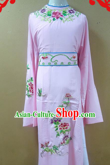 Professional Chinese Beijing Opera Niche Pink Embroidered Peony Robe Traditional Peking Opera Scholar Costume for Adults