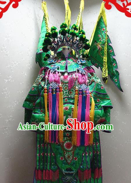 Chinese Traditional Beijing Opera Female General Green Embroidered Clothing Peking Opera Mu Guiying Costume for Adults