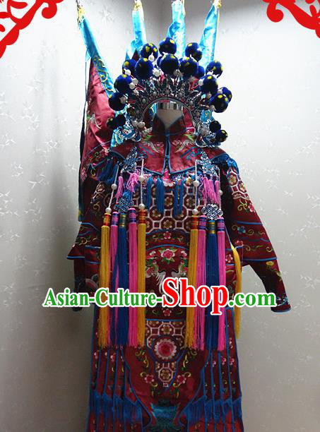 Chinese Traditional Beijing Opera Female General Wine Red Embroidered Clothing Peking Opera Mu Guiying Costume for Adults