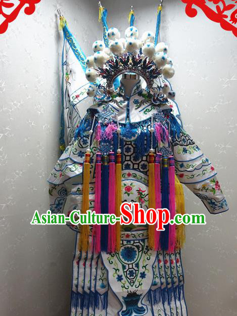 Chinese Traditional Beijing Opera Female General White Embroidered Clothing Peking Opera Mu Guiying Costume for Adults