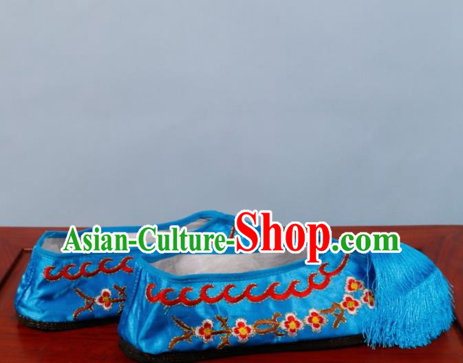 Chinese Traditional Beijing Opera Shoes Peking Opera Diva Blue Satin Embroidered Shoes