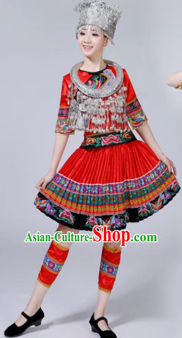 Chinese Traditional Miao Nationality Female Costume Ethnic Folk Dance Bride Red Short Pleated Skirt for Women