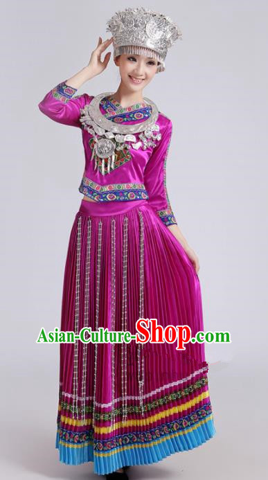 Chinese Traditional Miao Nationality Female Costume Hmong Ethnic Folk Dance Purple Pleated Skirt for Women