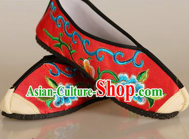 Asian Chinese Beijing Opera Shoes Red Embroidered Shoes Traditional Peking Opera Diva Shoes