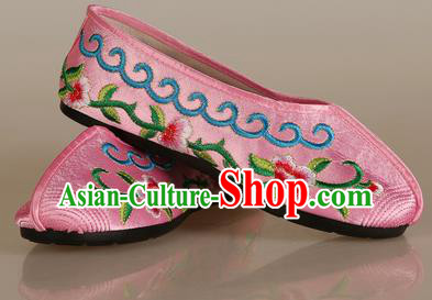 Asian Chinese Beijing Opera Shoes Embroidered Shoes Traditional Peking Opera Diva Pink Satin Shoes
