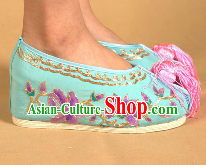 Asian Chinese Beijing Opera Shoes Princess Blue Embroidered Shoes Traditional Peking Opera Diva Shoes