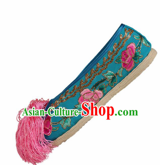 Asian Chinese Beijing Opera Shoes Blue Cloth Embroidered Shoes Traditional Peking Opera Diva Shoes