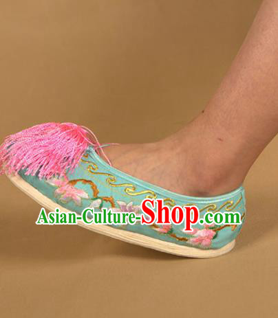 Asian Chinese Beijing Opera Shoes Green Embroidered Shoes Traditional Peking Opera Diva Shoes