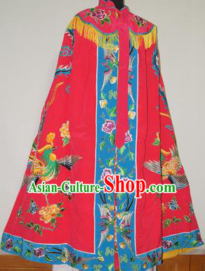 Traditional Chinese Beijing Opera Actress Costume Ancient Princess Embroidered Red Cloak for Women
