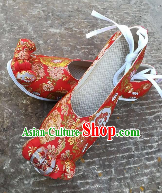 Asian Chinese Traditional Shoes Ancient Song Dynasty Wedding Red Shoes Hanfu Shoes for Women