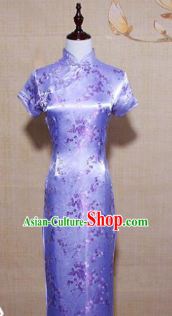 Asian Chinese Traditional Costume Classical Tang Suit Lilac Cheongsam for Women