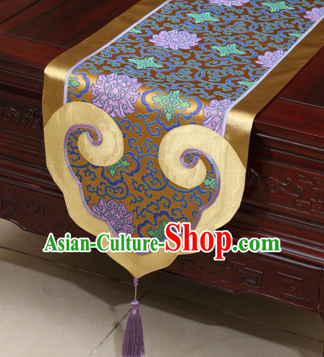 Chinese Classical Lotus Pattern Bronze Satin Table Flag Traditional Brocade Household Ornament Table Cover