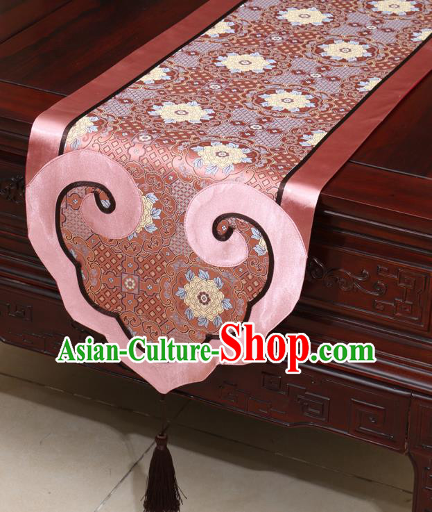 Chinese Classical Peony Pattern Pink Satin Table Flag Traditional Brocade Household Ornament Table Cover
